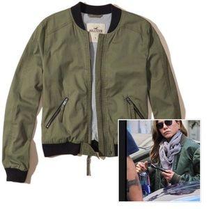 Hollister Jackets & Coats - Hollister Khaki cotton twill bomber jacket S